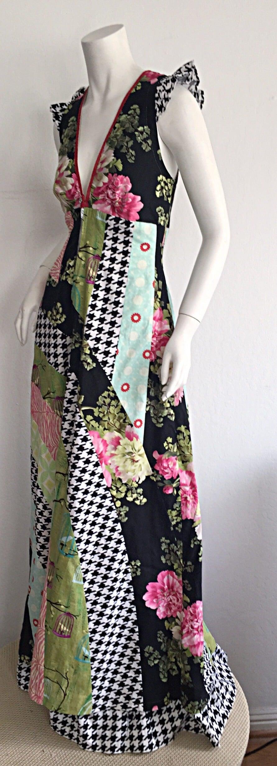 Amazing 1970s Vintage Bohemian Patchwork Cotton Maxi Dress For Sale 2