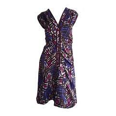 Incredible Vintage Yves Saint Laurent Rive Gauche Asian Graffiti Silk Dress