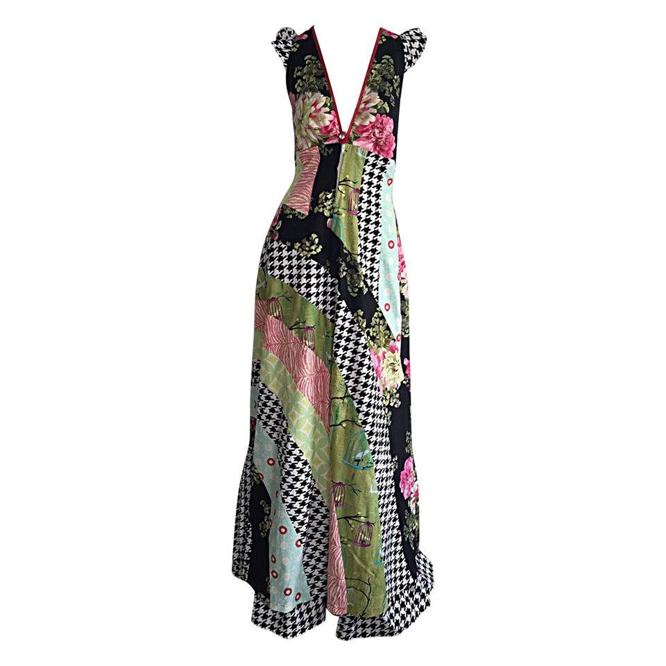 Amazing 1970s Vintage Bohemian Patchwork Cotton Maxi Dress For Sale