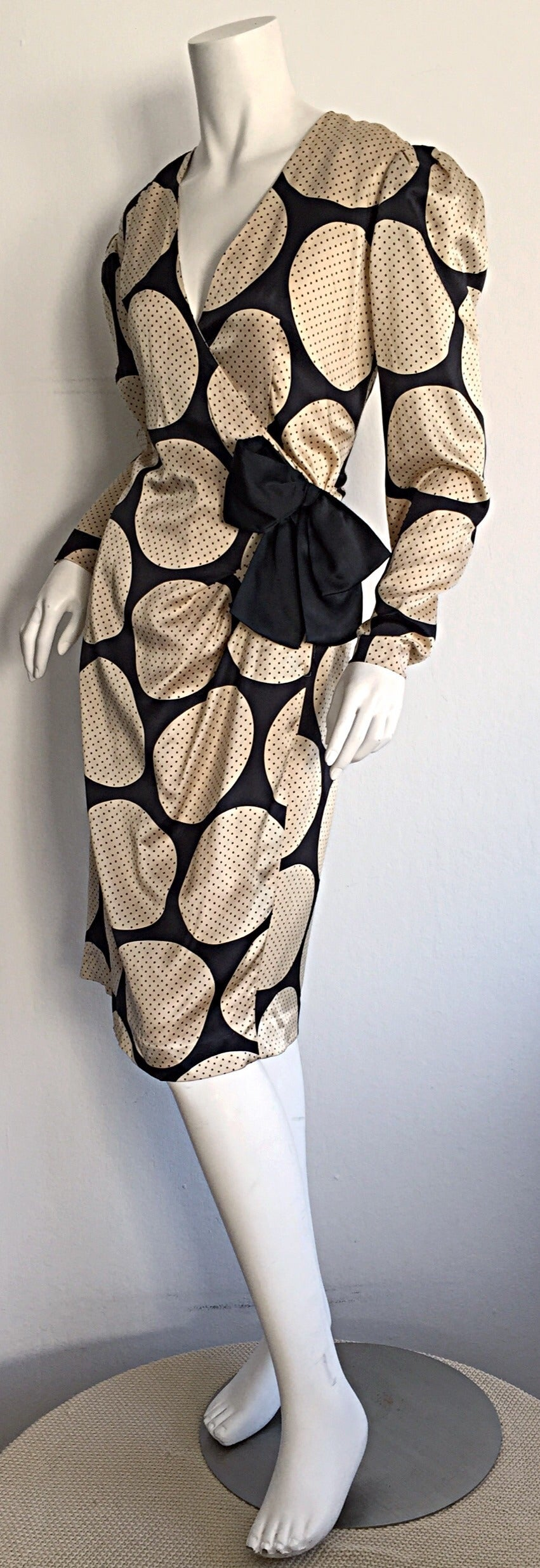 Beige Vintage Hanae Mori Polka Dot / Pin Dot Silk Wrap Dress For Sale