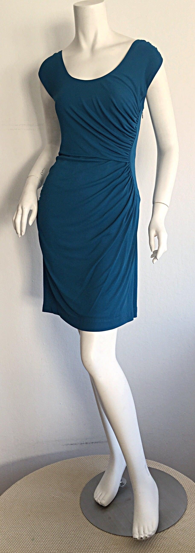 Women's 1990s Alberta Ferretti Size 6 / 8 Vintage Blue Jersey Draped Grecian Dress For Sale