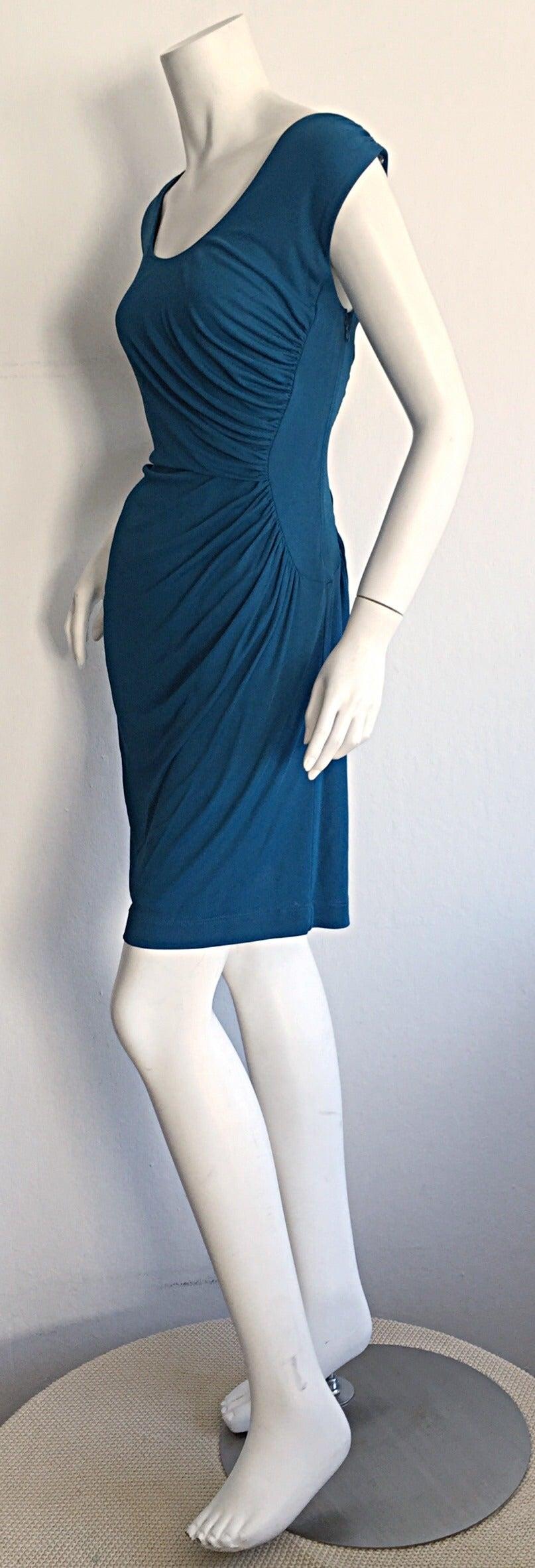 1990s Alberta Ferretti Size 6 / 8 Vintage Blue Jersey Draped Grecian Dress For Sale 1