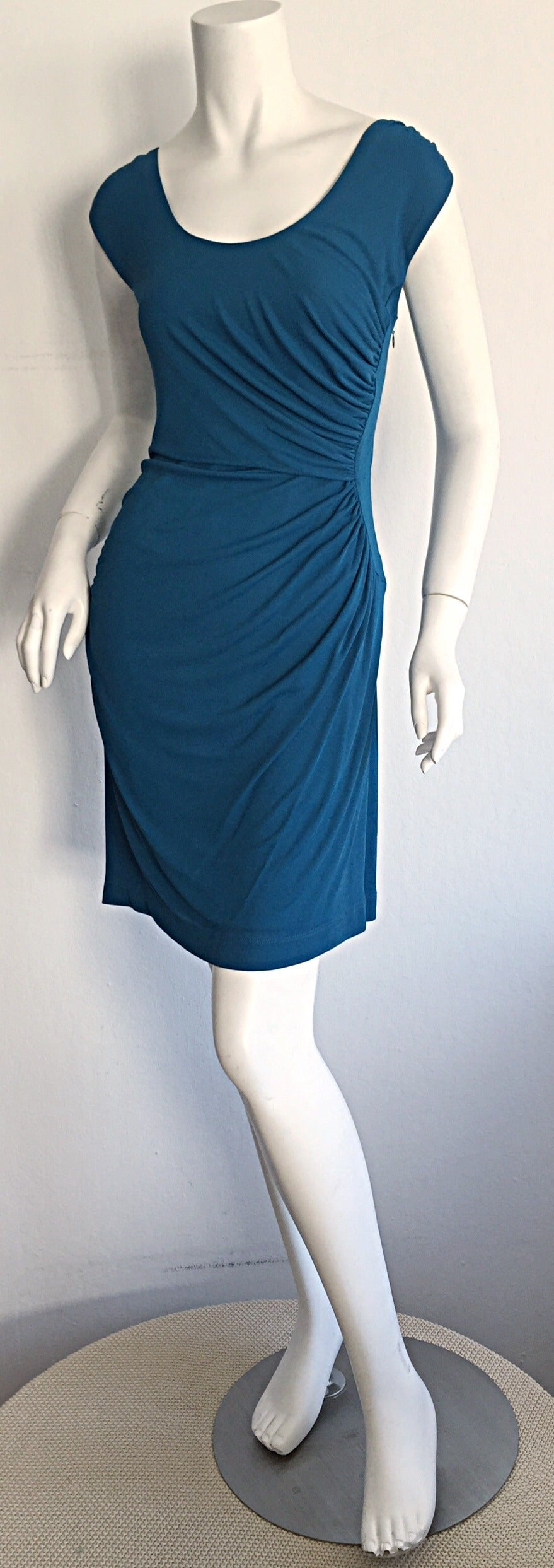 1990s Alberta Ferretti Size 6 / 8 Vintage Blue Jersey Draped Grecian Dress For Sale 2