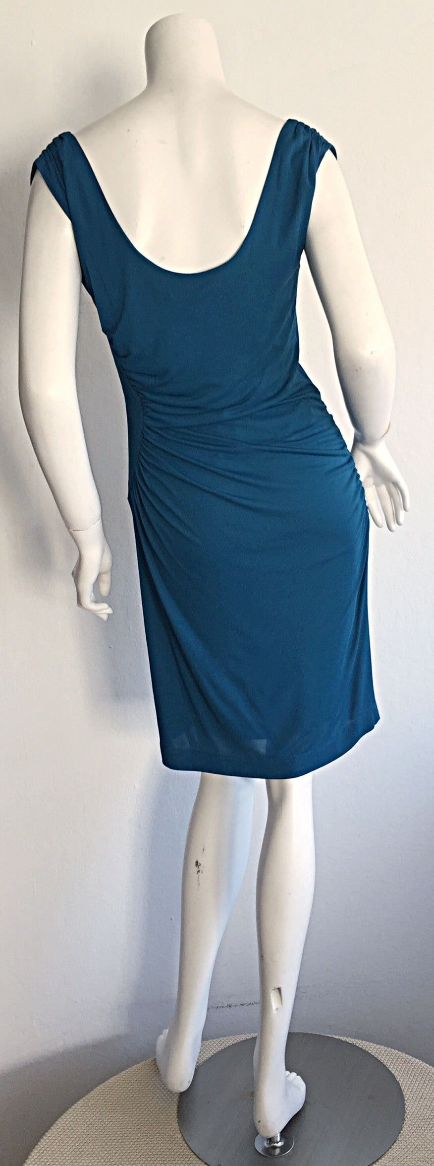 1990s Alberta Ferretti Size 6 / 8 Vintage Blue Jersey Draped Grecian Dress For Sale 3
