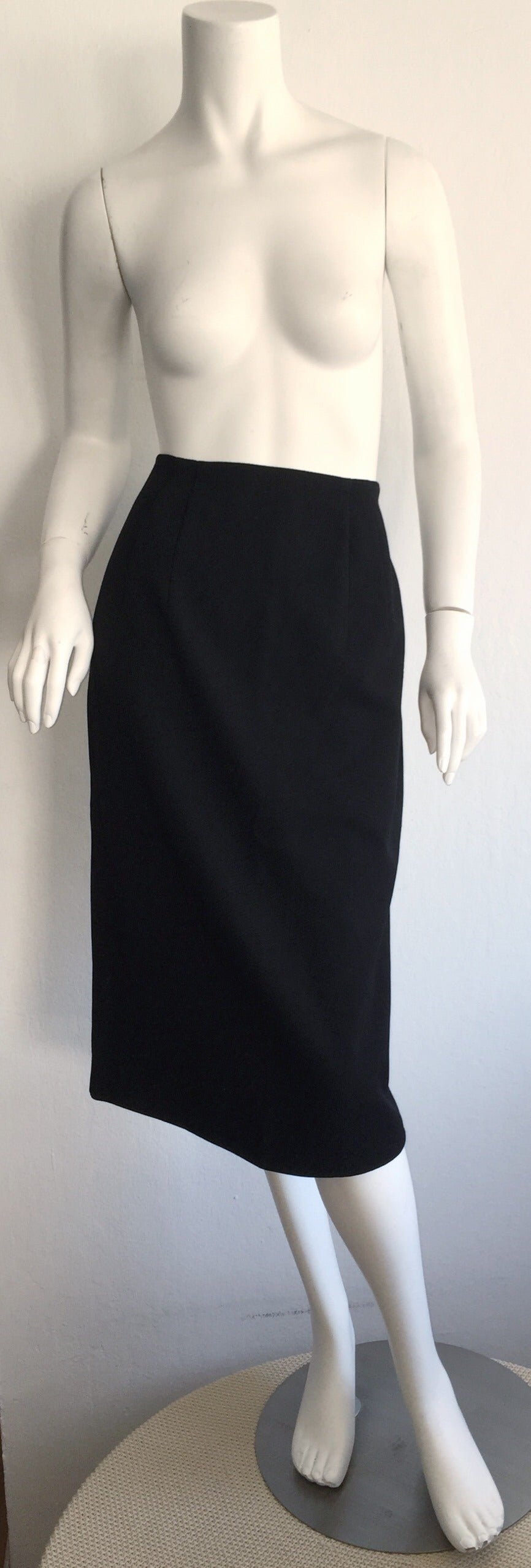 Women's Vintage Andrea Odicini Couture Black Skirt Suit + Rhinestone Buttons Size Large For Sale