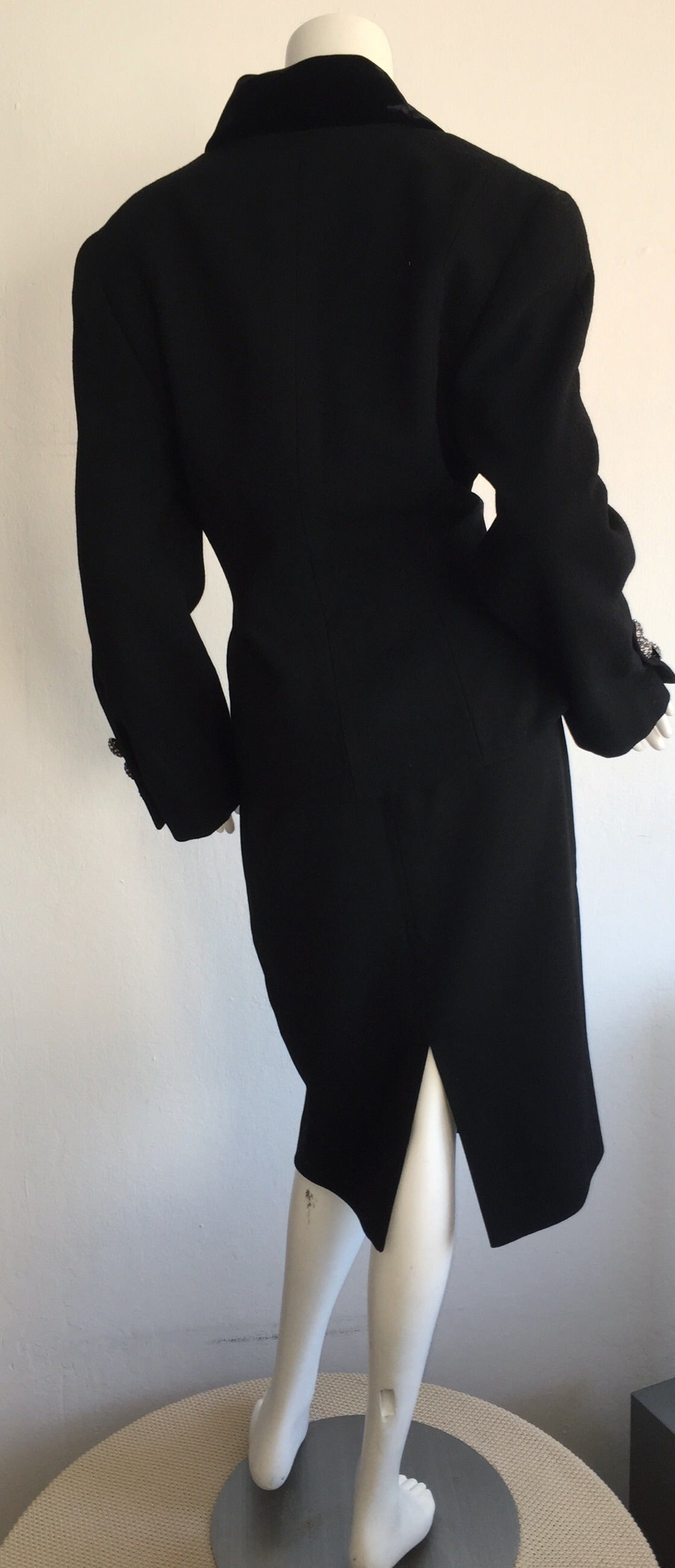 Vintage Andrea Odicini Couture Black Skirt Suit + Rhinestone Buttons Size Large For Sale 4