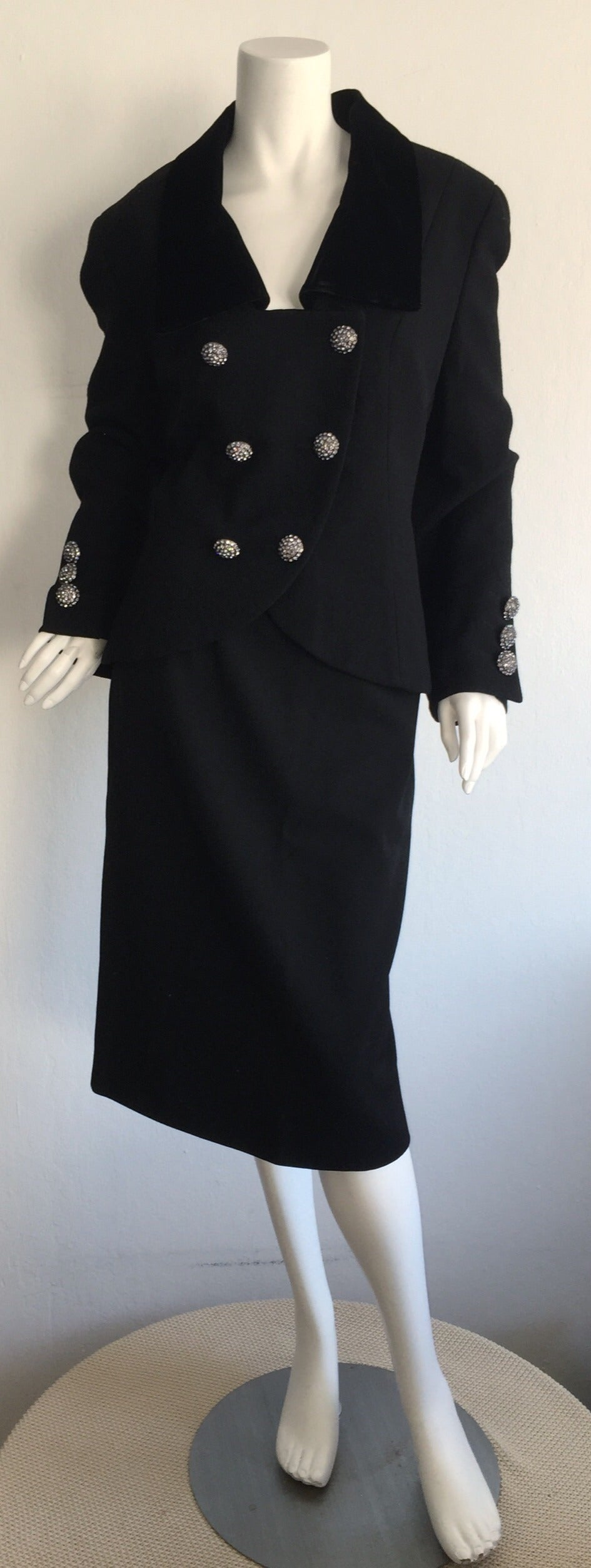 Vintage Andrea Odicini Couture Black Skirt Suit + Rhinestone Buttons Size Large For Sale 5