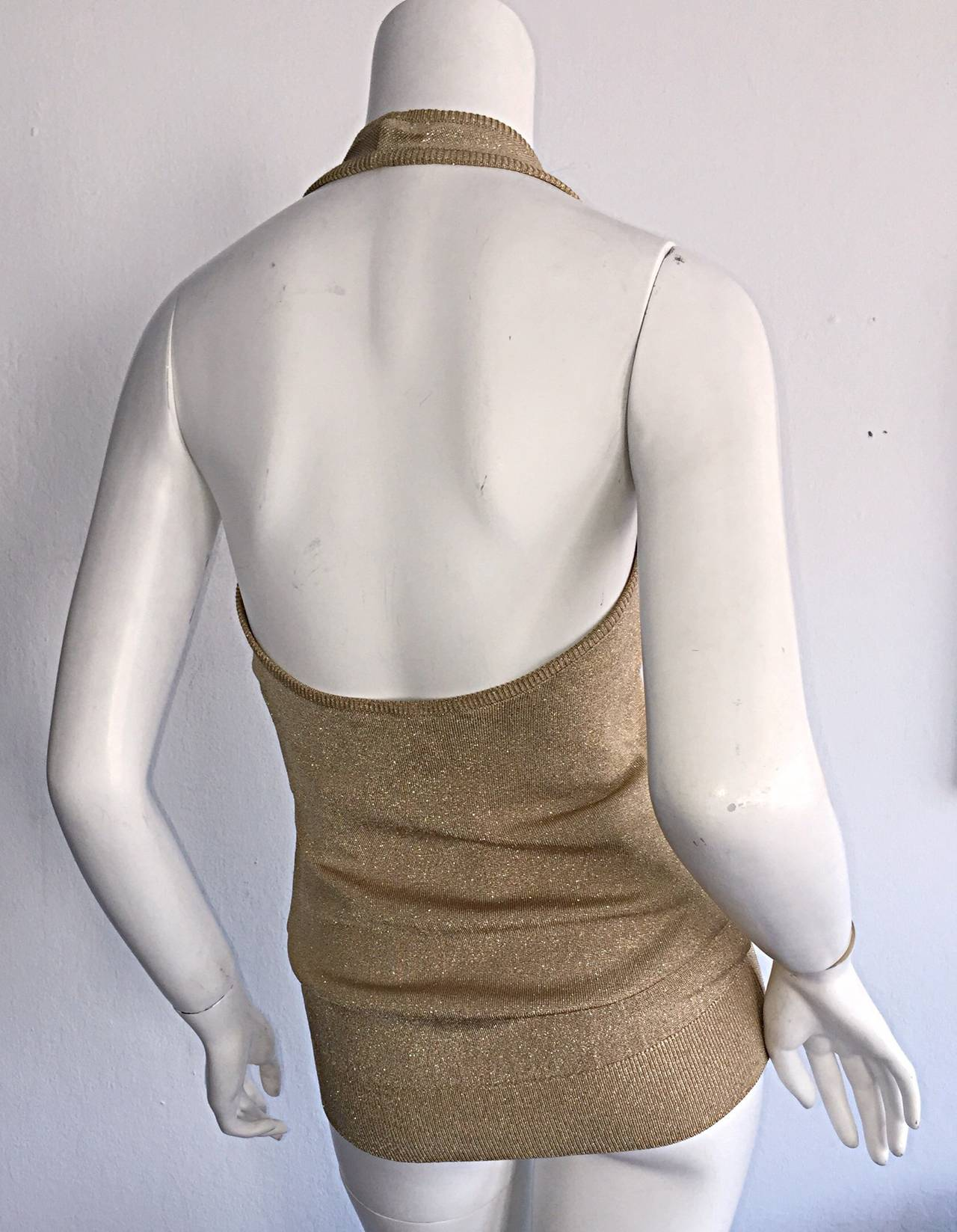 Brown Sexy Brand New Vintage Donna Karan Metallic Gold Halter Top / Blouse For Sale