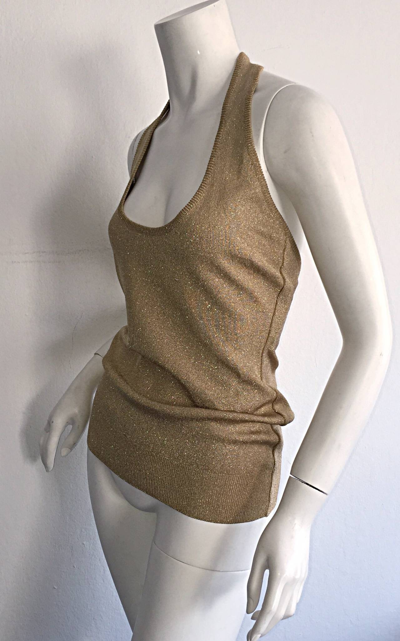 Women's Sexy Brand New Vintage Donna Karan Metallic Gold Halter Top / Blouse For Sale