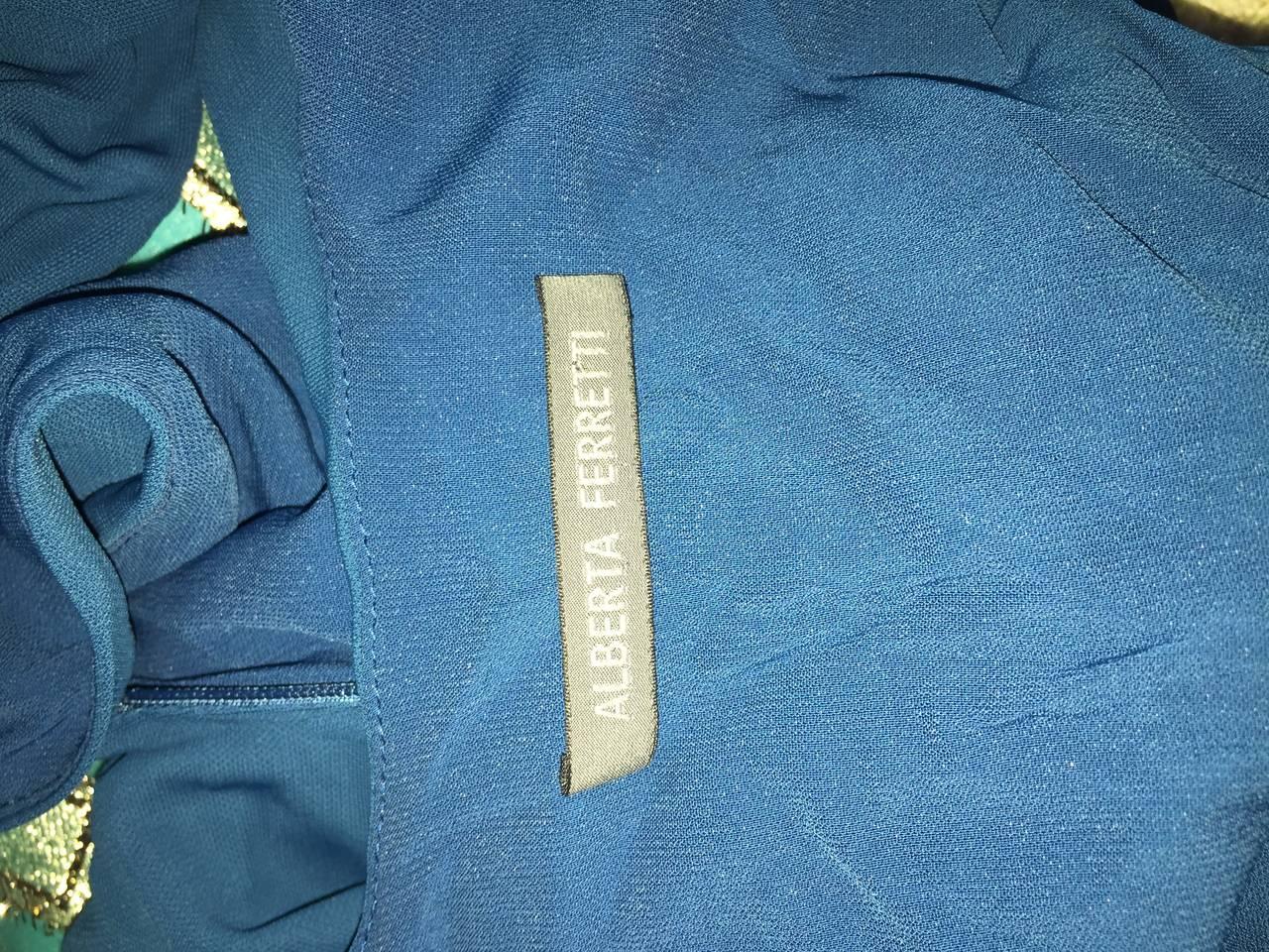 1990s Alberta Ferretti Size 6 / 8 Vintage Blue Jersey Draped Grecian Dress For Sale 5