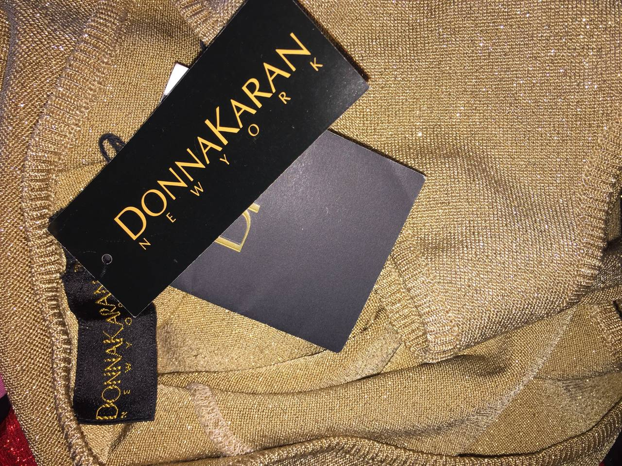 Sexy Brand New Vintage Donna Karan Metallic Gold Halter Top / Blouse For Sale 1