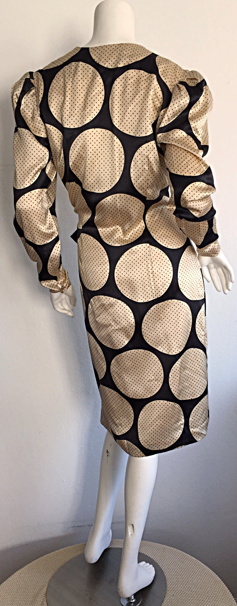 Women's Vintage Hanae Mori Polka Dot / Pin Dot Silk Wrap Dress For Sale
