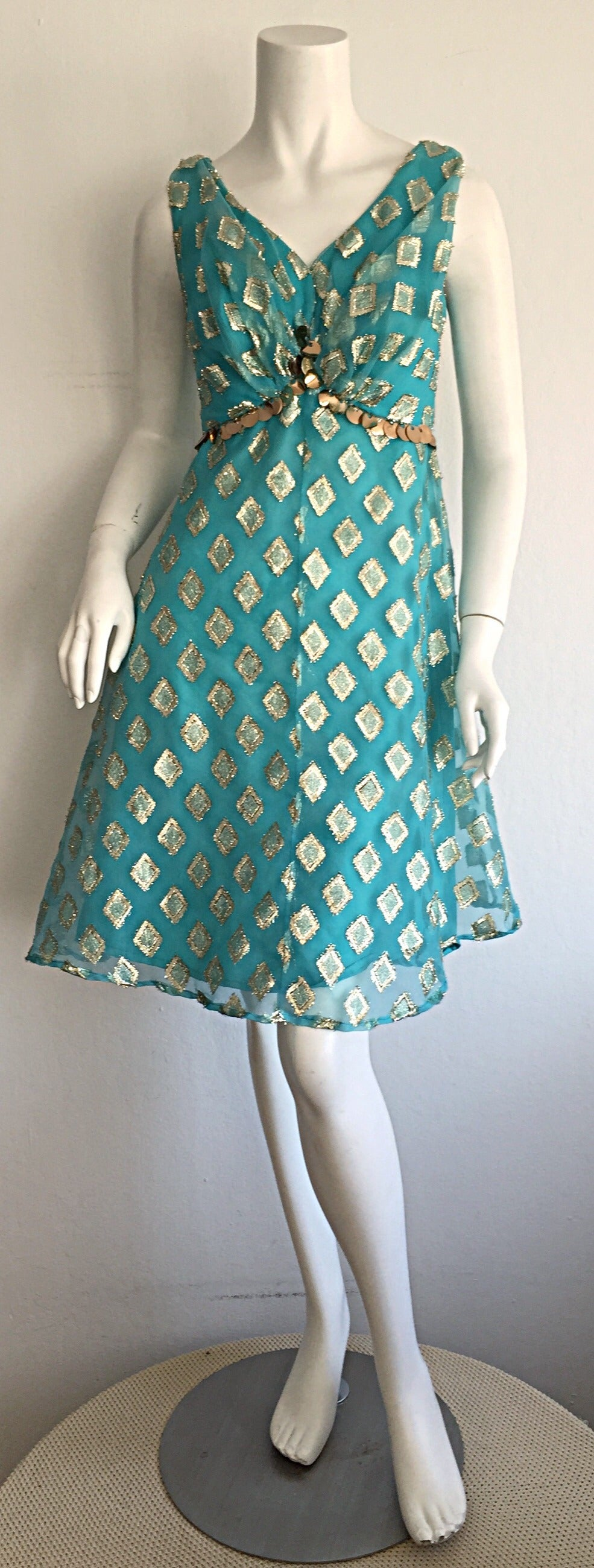 Beautiful 1960s 60s Aqua Blue + Gold A - Line Babydoll Dress w/ Palliates 2