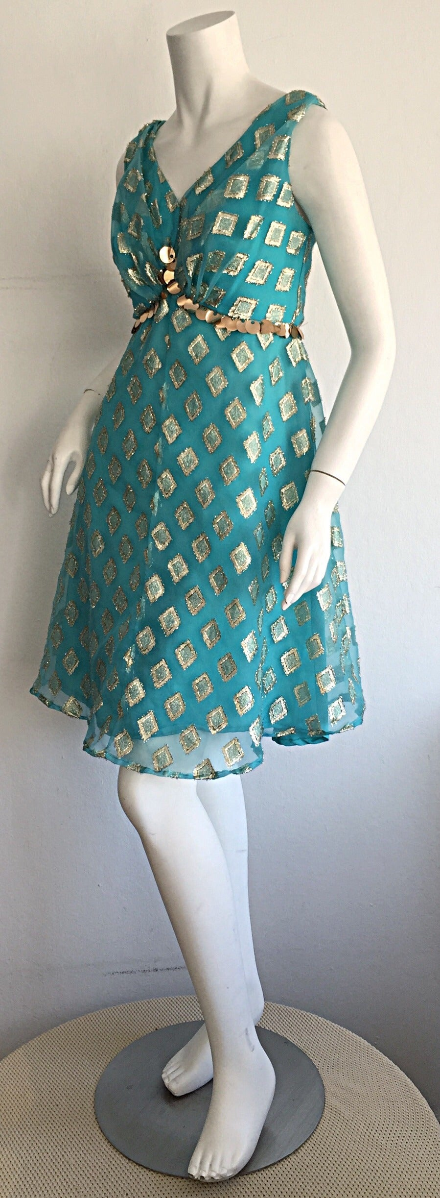 Beautiful 1960s 60s Aqua Blue + Gold A - Line Babydoll Dress w/ Palliates 3
