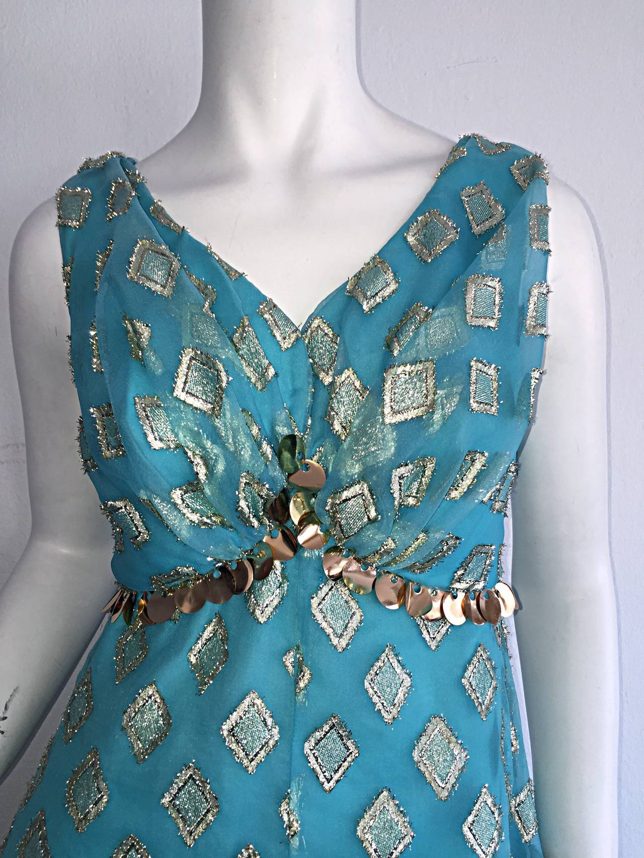Beautiful 1960s 60s Aqua Blue + Gold A - Line Babydoll Dress w/ Palliates 5
