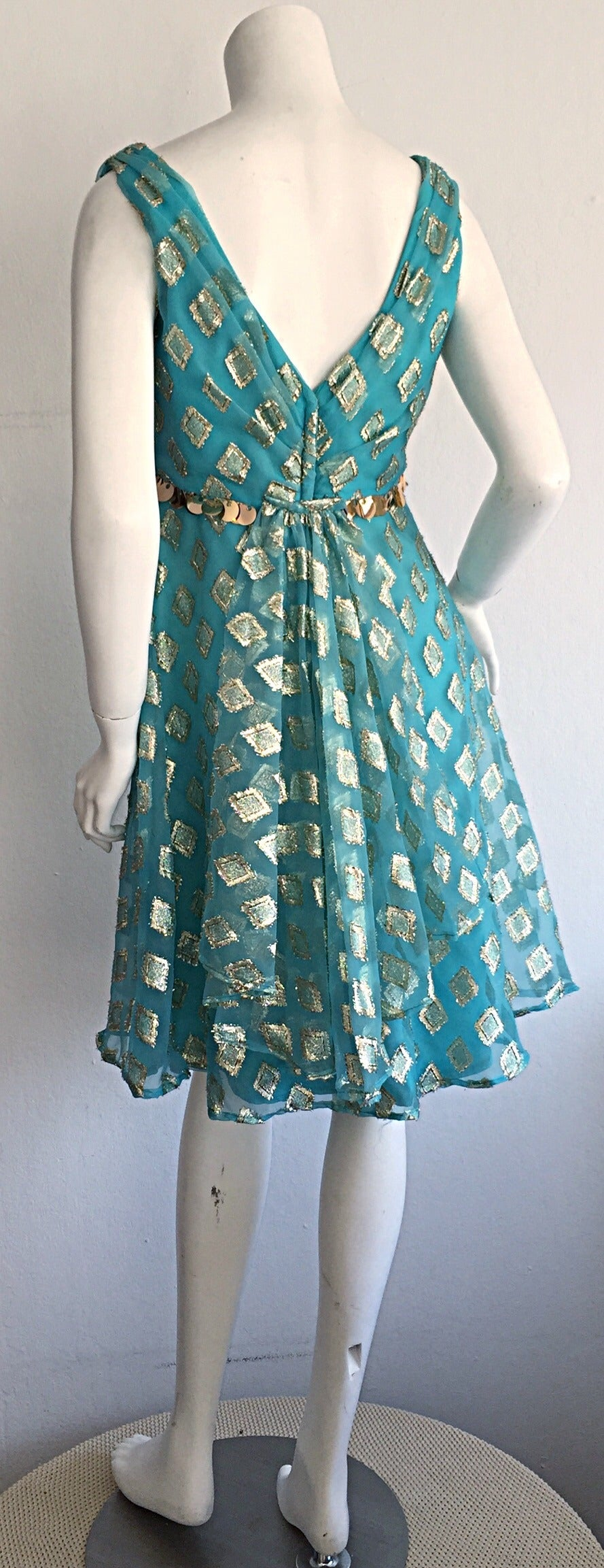 Beautiful 1960s 60s Aqua Blue + Gold A - Line Babydoll Dress w/ Palliates 6