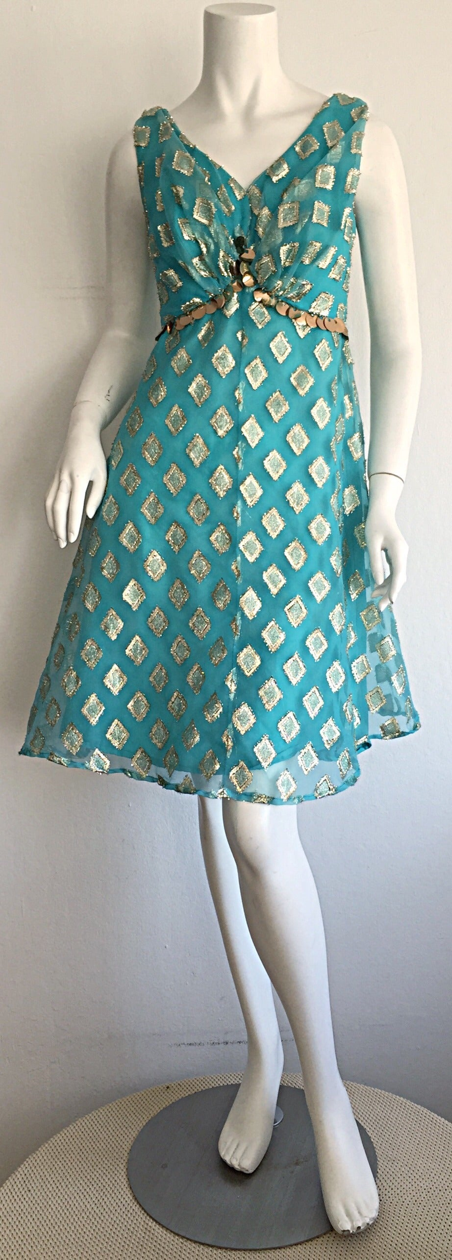 Beautiful 1960s 60s Aqua Blue + Gold A - Line Babydoll Dress w/ Palliates 7