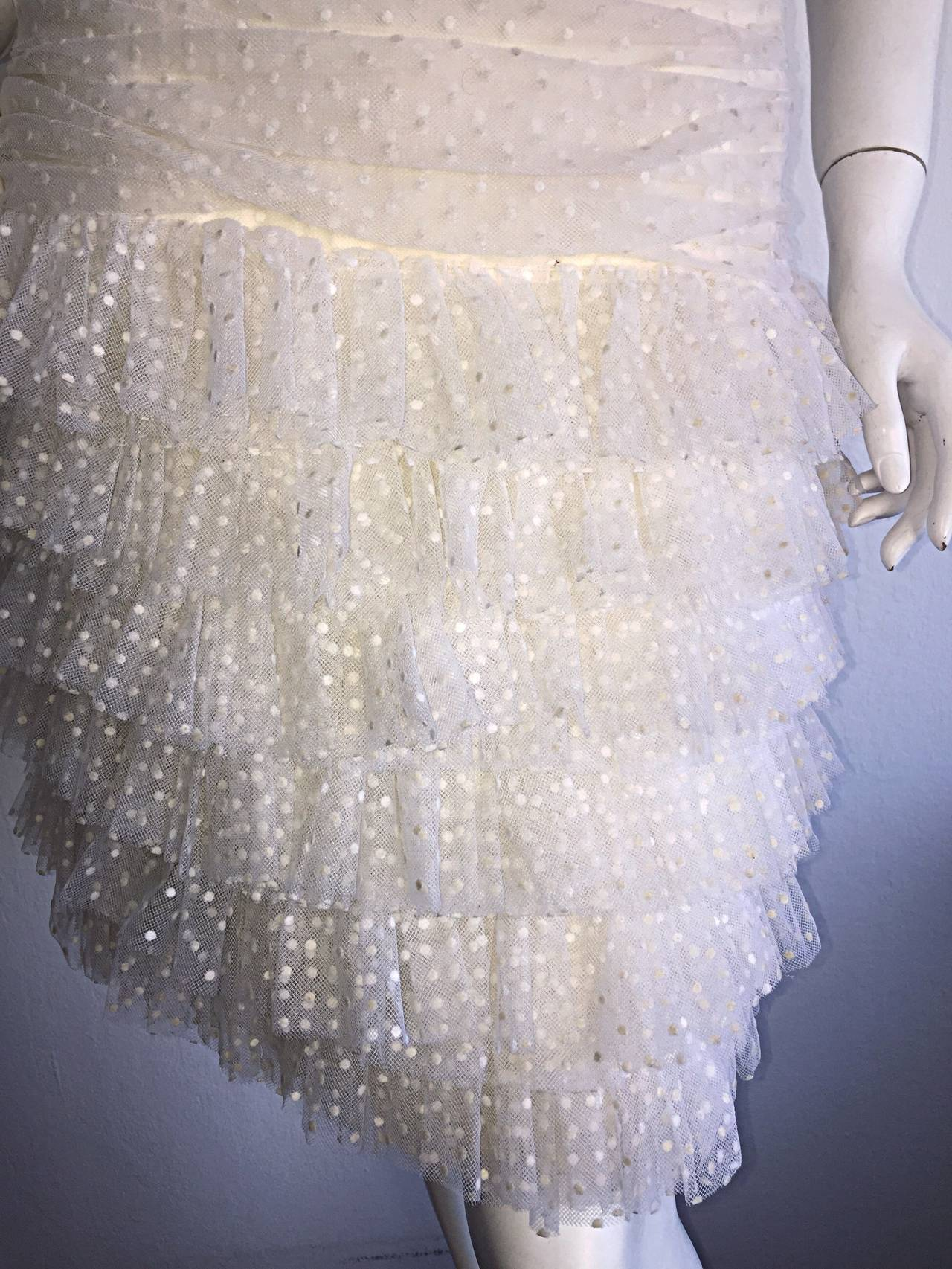 1990s Carolyne Roehm White Polka Dot ' Feathered ' Strapless Wedding Dress 4