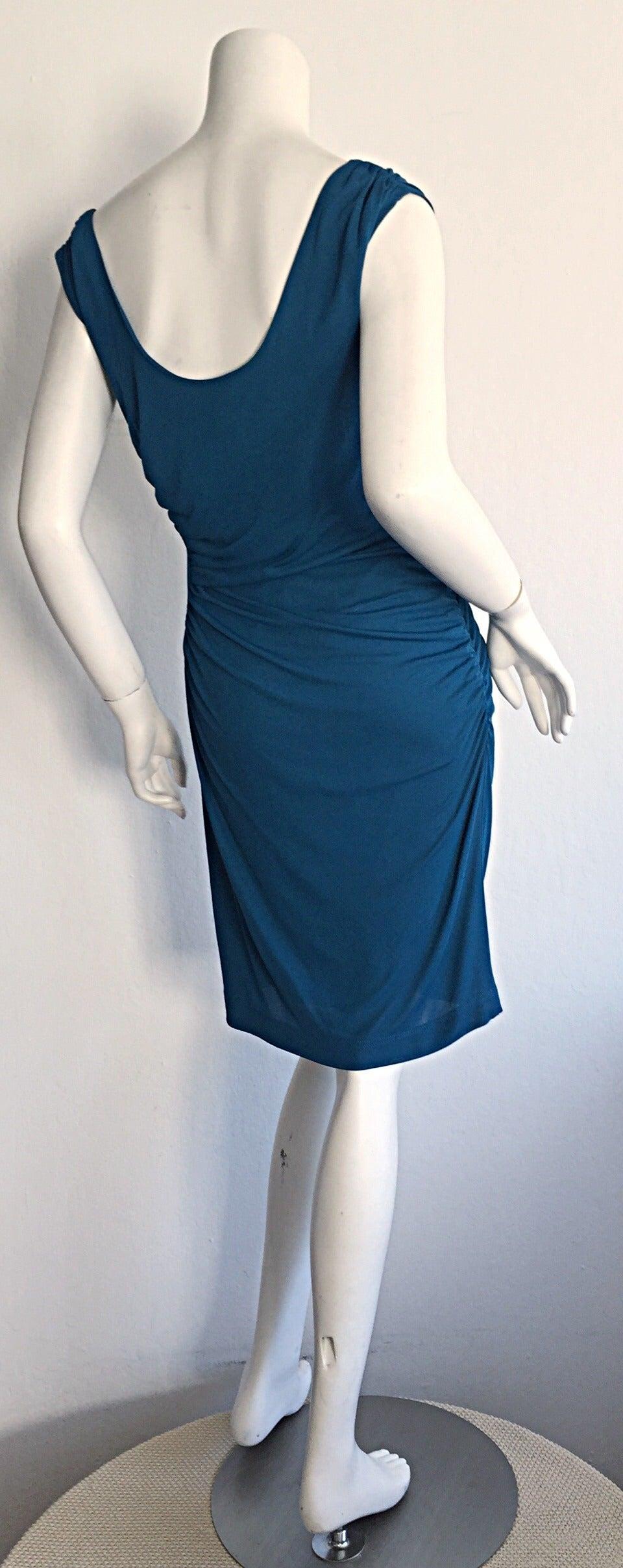 1990s Alberta Ferretti Size 6 / 8 Vintage Blue Jersey Draped Grecian Dress In Excellent Condition For Sale In Chicago, IL