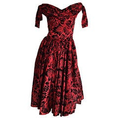 Beautiful Vintage Arnold Scaasi Attr. Taffeta Velvet ' Grass ' Print Dress