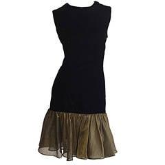 Vintage Cathy Hardwick Black Silk Velvet Dress w/ Gold / Bronze Ruffle Hem