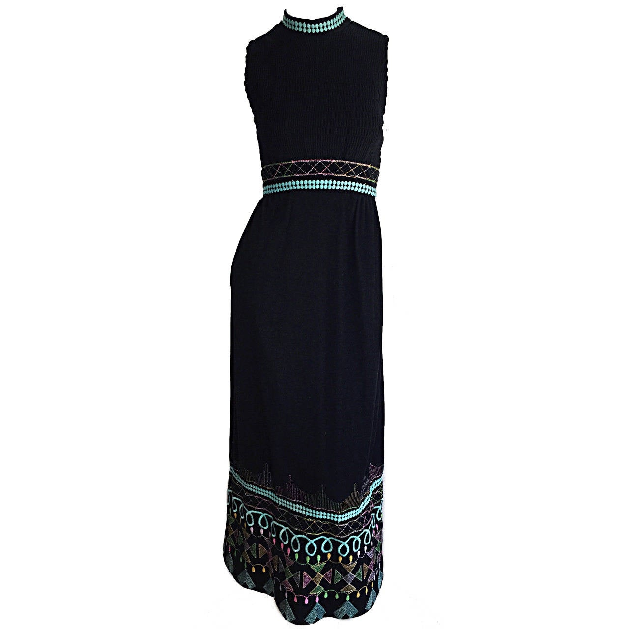 1970s Sandine Originals I. Magnin Black Embroidered Colorful Cotton Maxi Dress