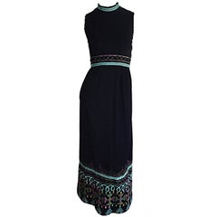 1970s Sandine Originals I. Magnin Black Embroidered Colorful Cotton Maxi Dress