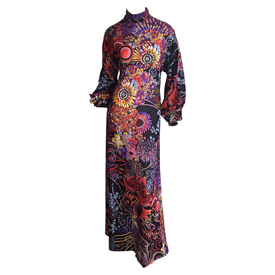 Incredible 1970s Daymor Couture Colorful Psychedelic Open - Back Asian Dress 1