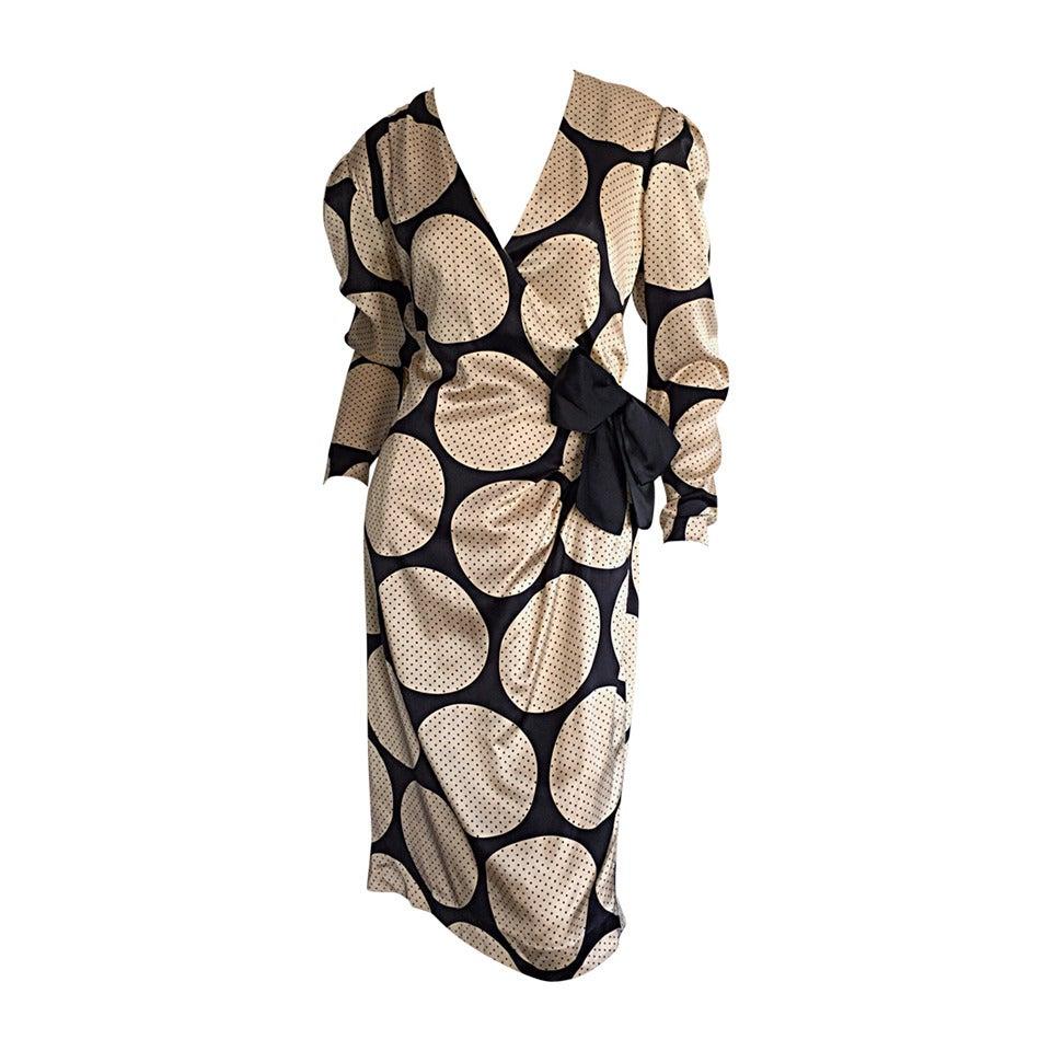 Vintage Hanae Mori Polka Dot / Pin Dot Silk Wrap Dress
