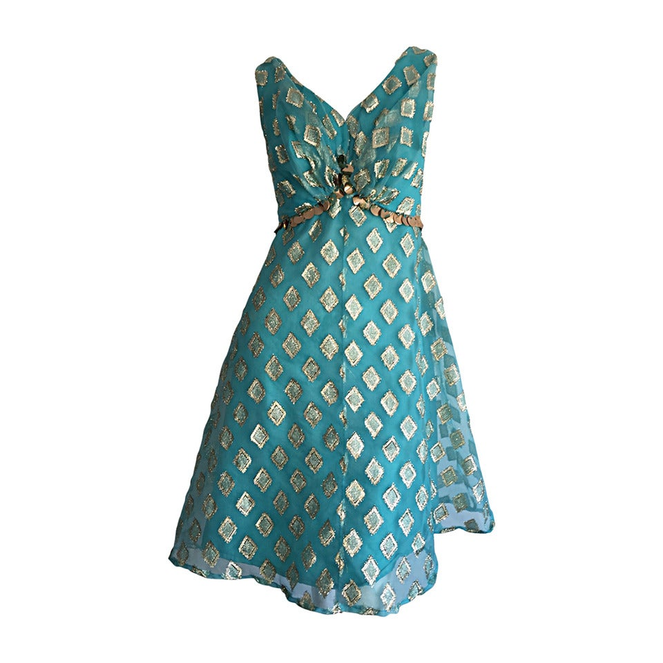 Beautiful 1960s 60s Aqua Blue + Gold A - Line Babydoll Dress w/ Palliates 1