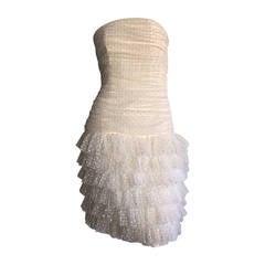1990s Carolyne Roehm White Polka Dot ' Feathered ' Strapless Wedding Dress