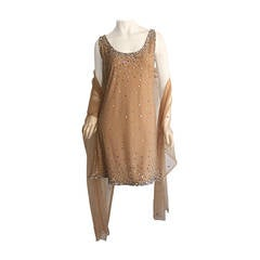 Gorgeous Vintage CD Greene Couture Nude ' Crystal ' Dress + Shawl