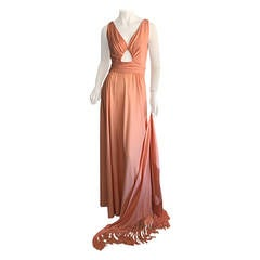 1970s Perullo for Fred Perlberg Coral Jersey Key - Hole Disco Maxi Dress + Shawl