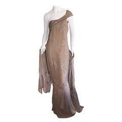 Extraordinary Vintage Gianfranco Ferre Cotton + Silk Grecian Goddess Gown