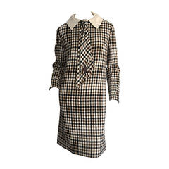 Chic 1960s I. Magnin Plaid ' Twiggy ' Tie Dress w/ Detachable Peter Pan Collar