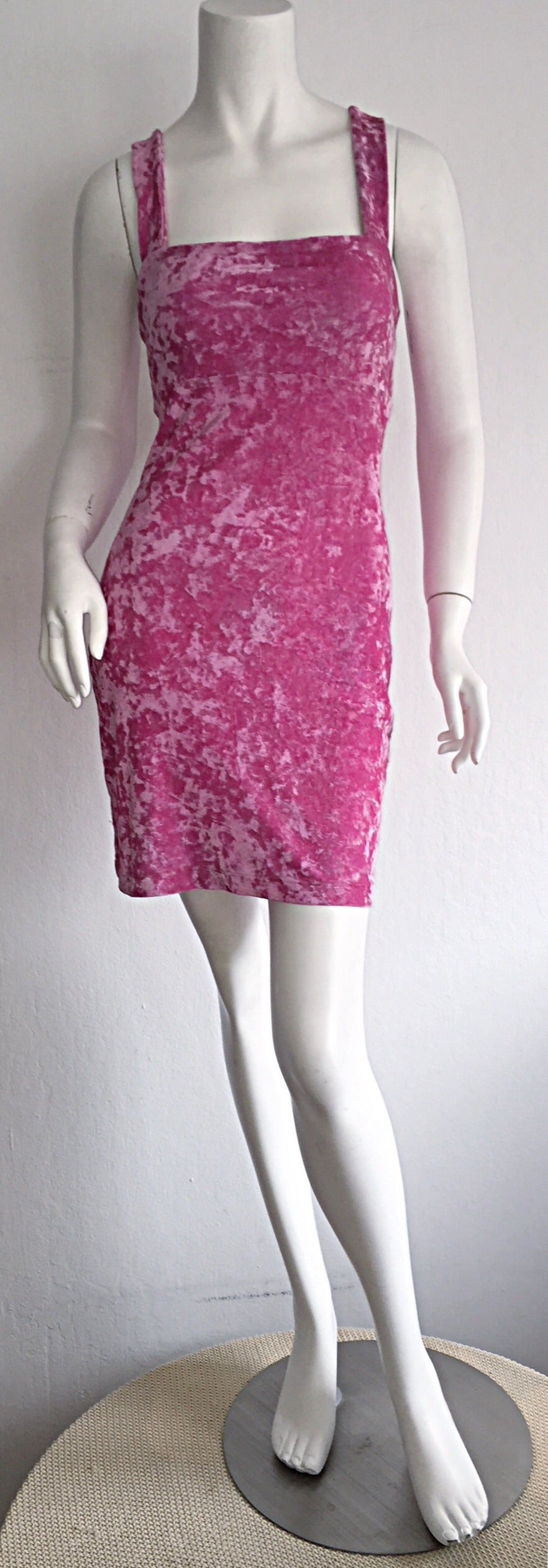 Iconic 1990s Vintage Betsey Johnson ' Barbie ' Crushed Velveteen Bodycon Dress 2