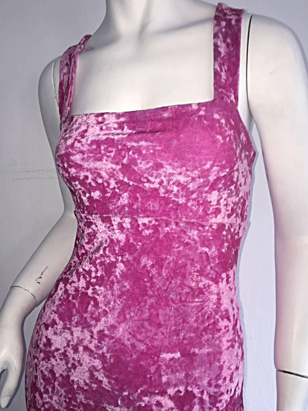 Iconic 1990s Vintage Betsey Johnson ' Barbie ' Crushed Velveteen Bodycon Dress 3