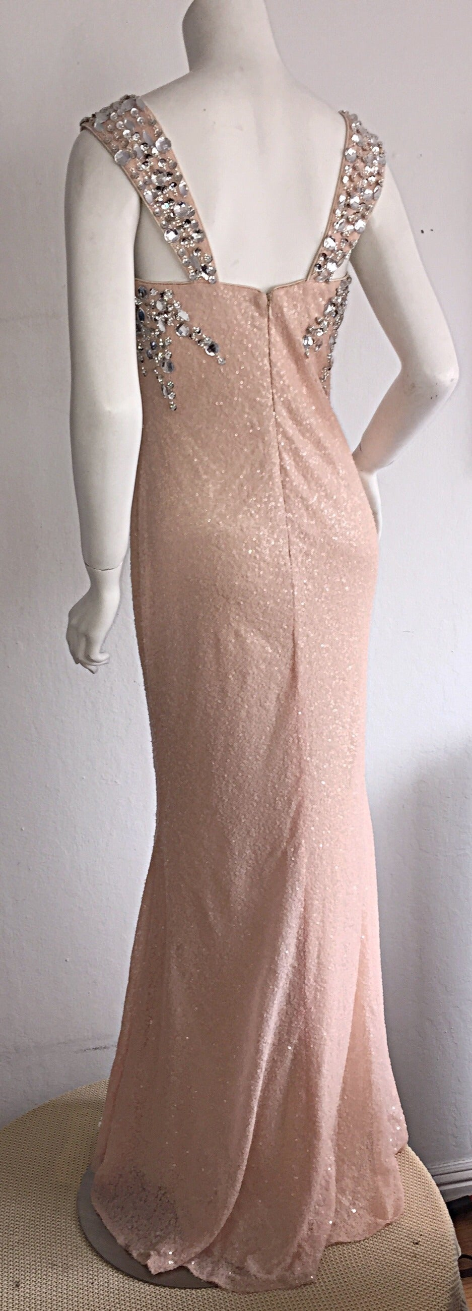 Stunning Early 1990s Custom All Over Sequin + Crystals Pink Vintage Mermaid Gown 5