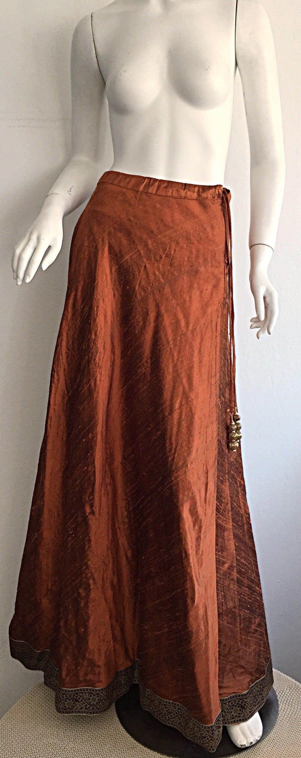 1970s Vintage Burnt Orange Raw Silk Indian Bohemian Tassel Maxi Skirt 2