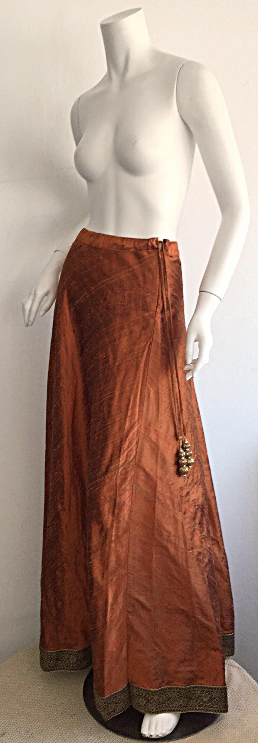 1970s Vintage Burnt Orange Raw Silk Indian Bohemian Tassel Maxi Skirt 4