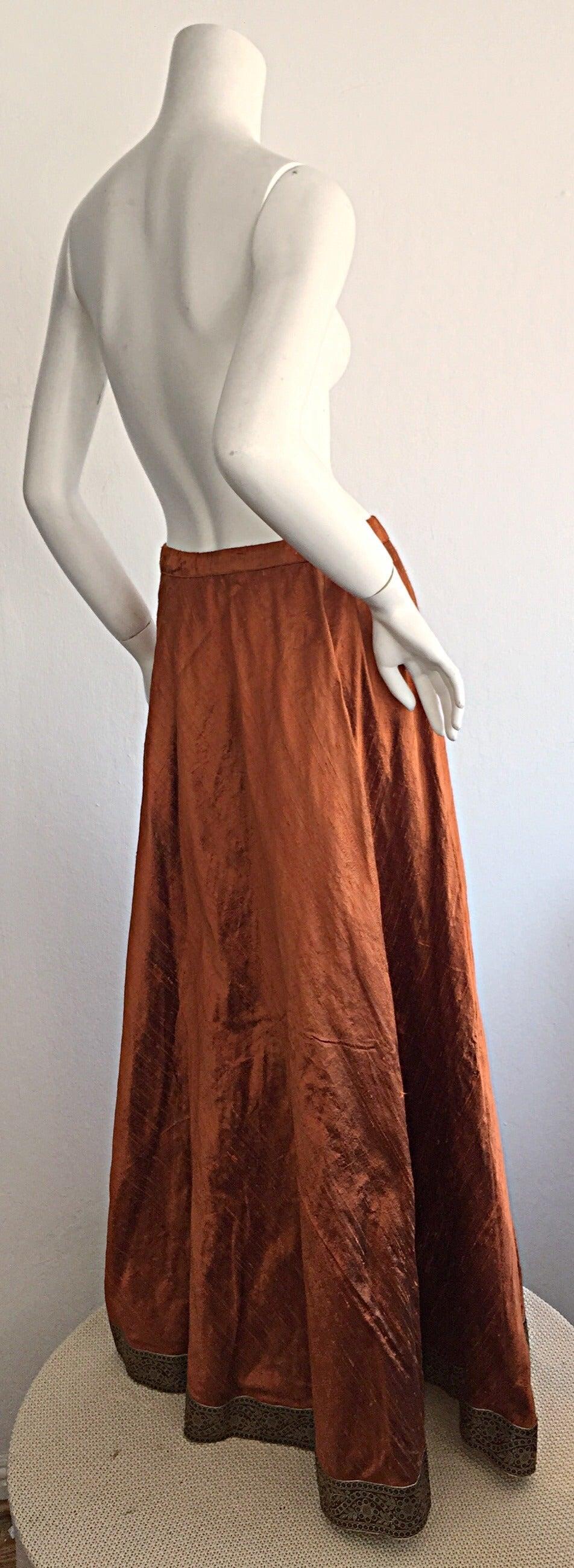 1970s Vintage Burnt Orange Raw Silk Indian Bohemian Tassel Maxi Skirt 6