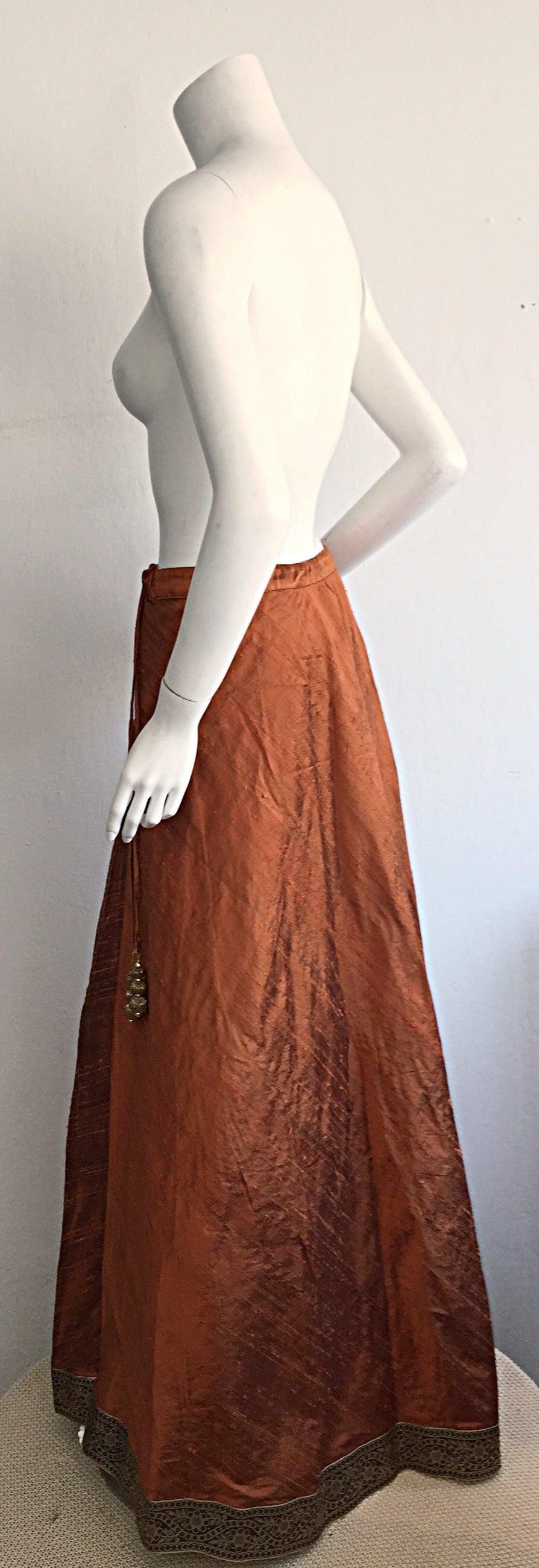 1970s Vintage Burnt Orange Raw Silk Indian Bohemian Tassel Maxi Skirt 7