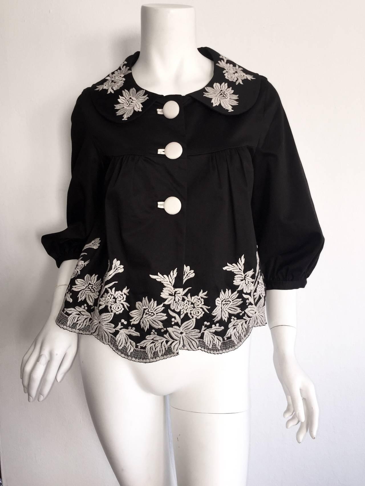 Wonderful Marc Jacobs Black + White Floral Cotton Trapeze ...