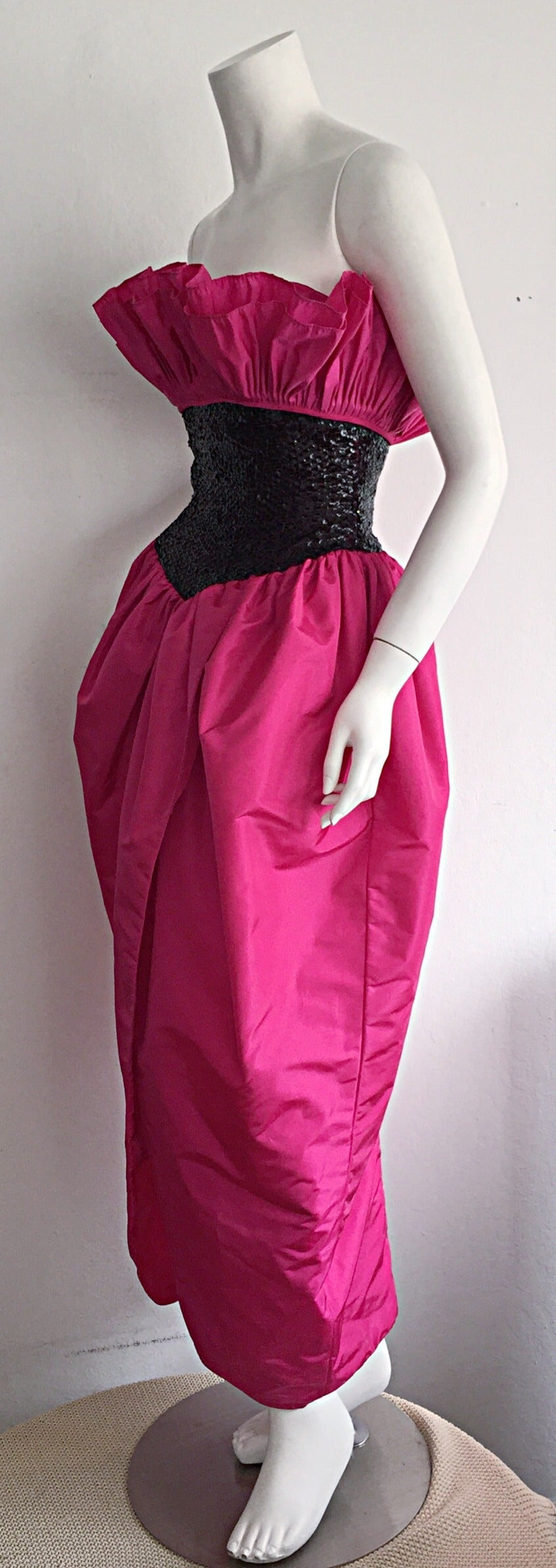 Incredible Vintage Victor Costa for Neiman Marcus Hot Pink Origami Tulip Dress For Sale 1