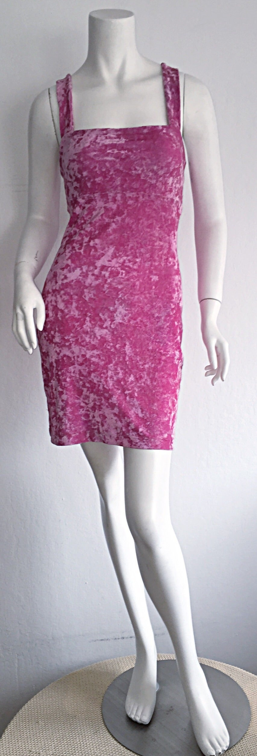 Iconic 1990s Vintage Betsey Johnson ' Barbie ' Crushed Velveteen Bodycon Dress 5