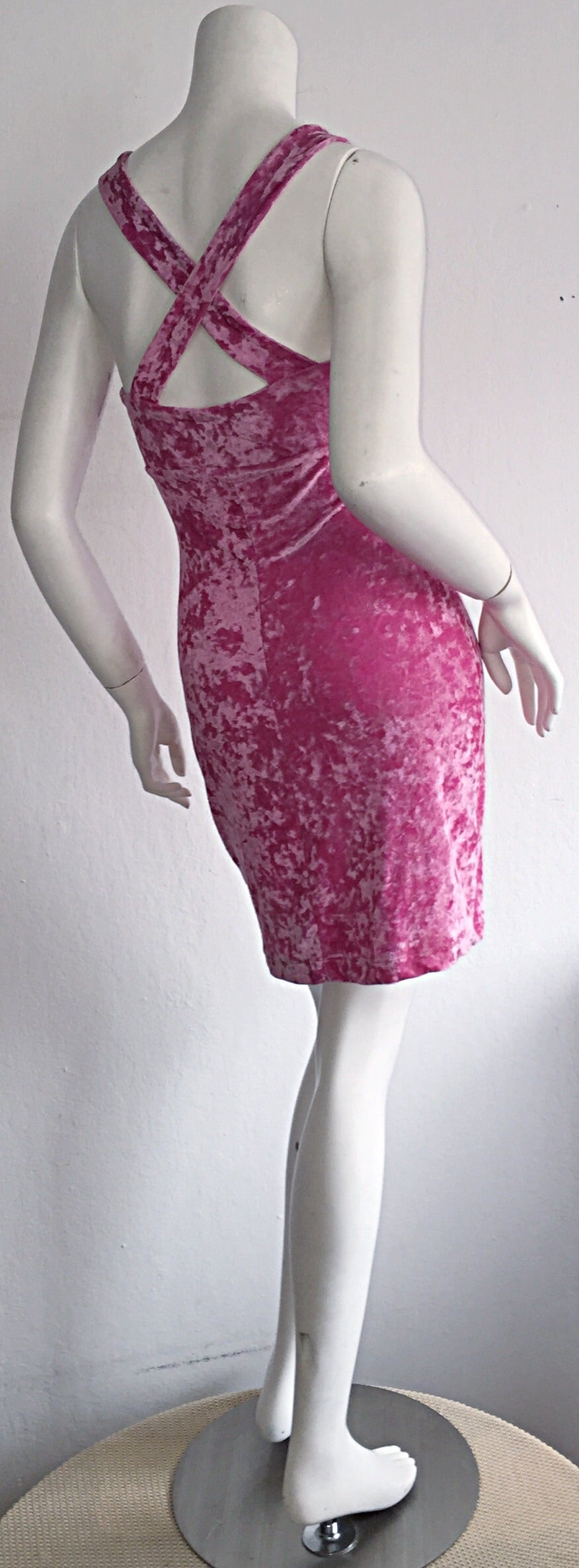 Iconic 1990s Vintage Betsey Johnson ' Barbie ' Crushed Velveteen Bodycon Dress 6