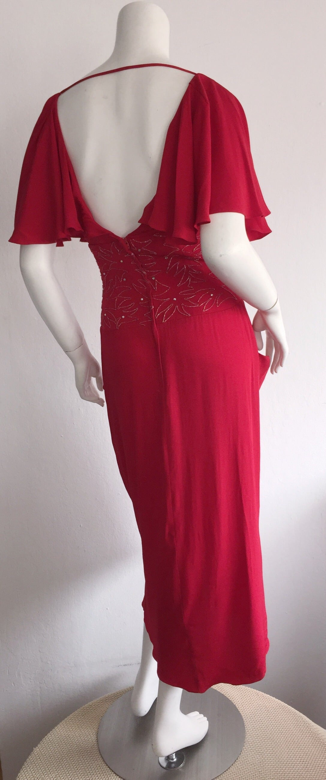 Beautiful Vintage Eletra Casadei Lipstick Red Flutter Dress w/ Rhinestones In Excellent Condition For Sale In Chicago, IL