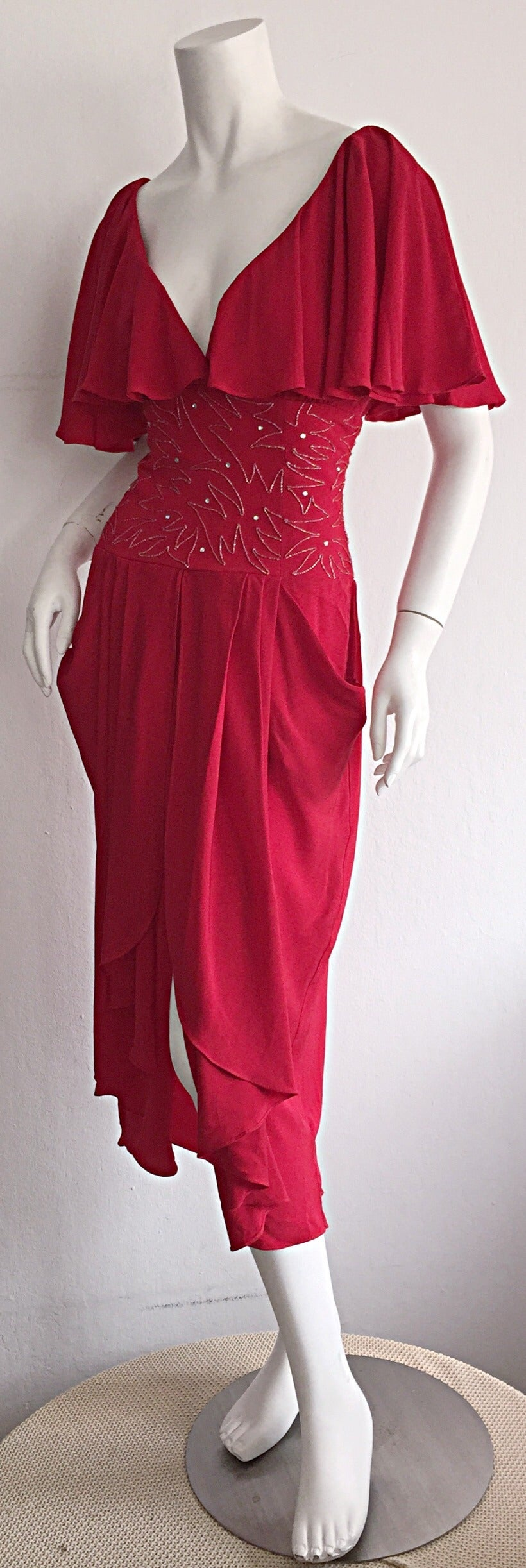 Women's Beautiful Vintage Eletra Casadei Lipstick Red Flutter Dress w/ Rhinestones For Sale