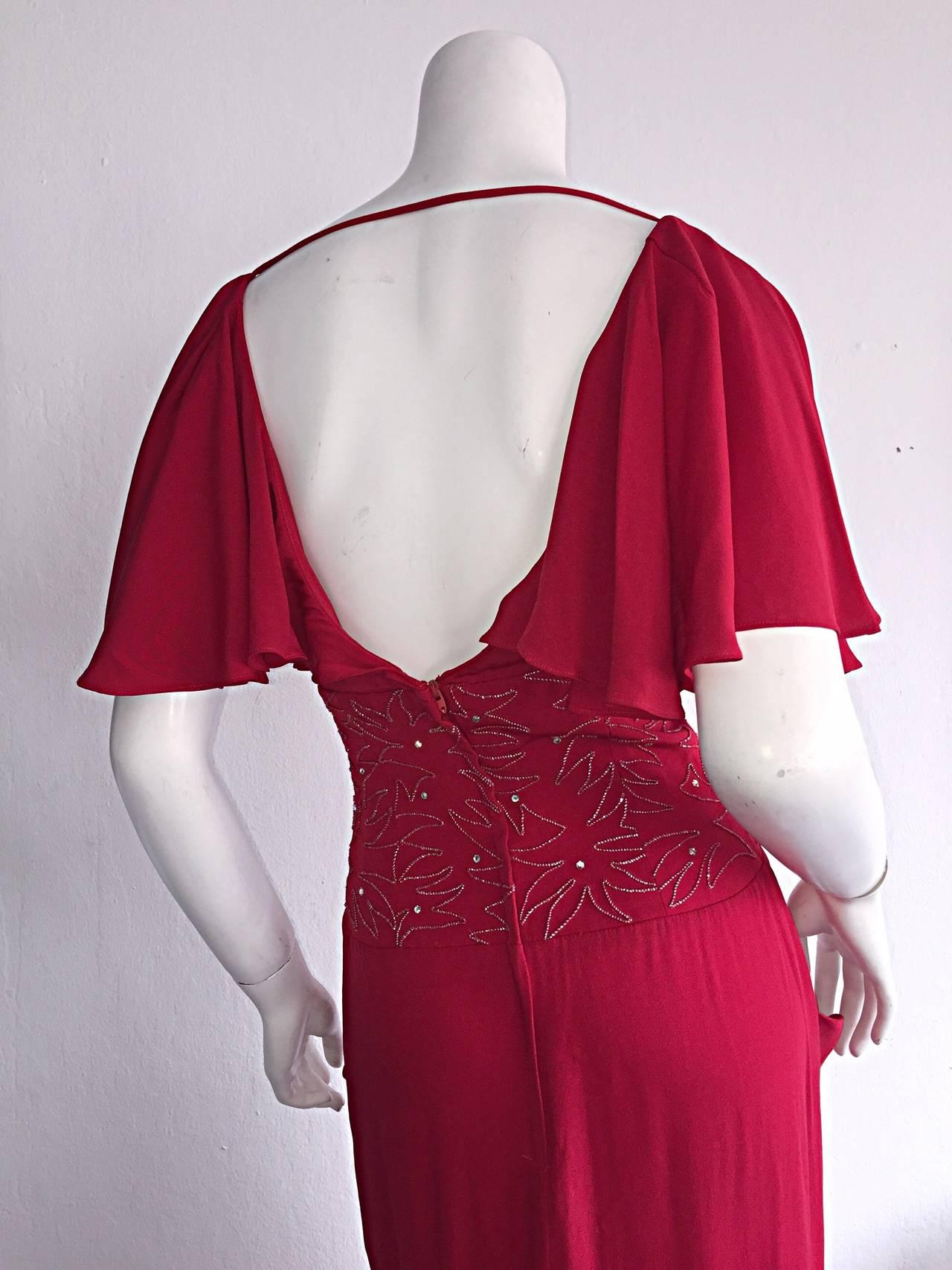 Beautiful Vintage Eletra Casadei Lipstick Red Flutter Dress w/ Rhinestones For Sale 2