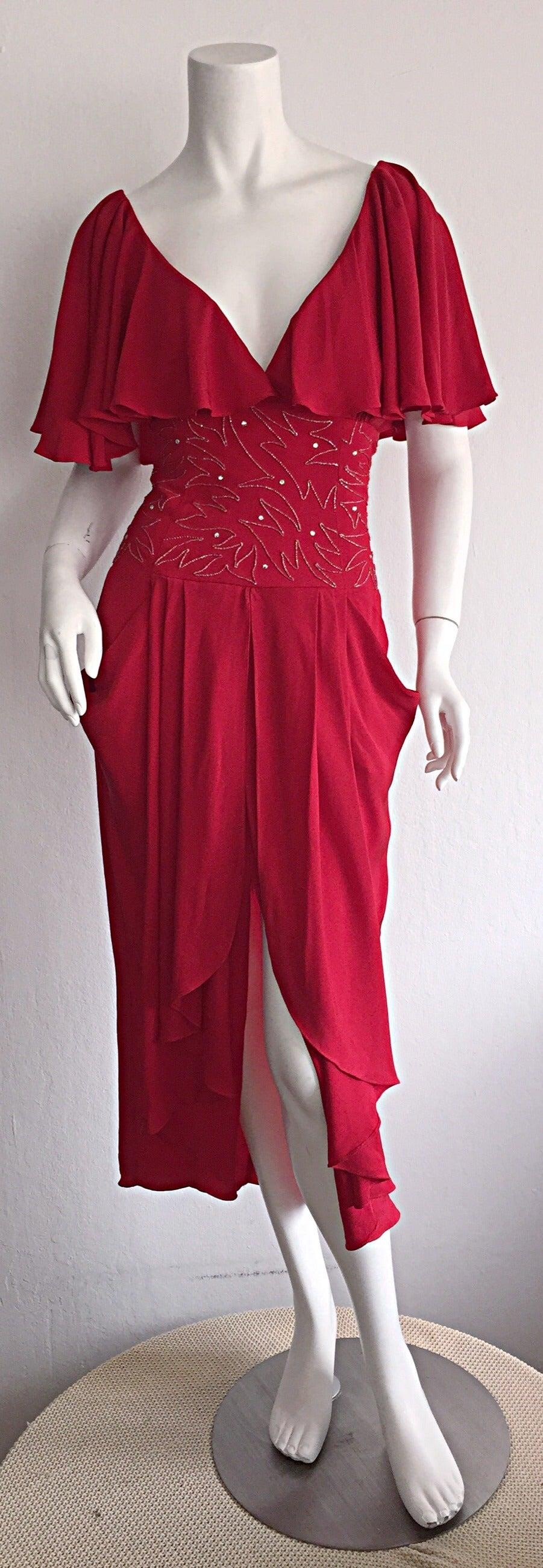 Beautiful Vintage Eletra Casadei Lipstick Red Flutter Dress w/ Rhinestones For Sale 3